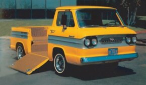 Chevrolet's 1962 Corvair Rampside pickup was particularly well suited to hauling small, wheeled implements that could be rolled up into the bed. See more classic truck pictures.