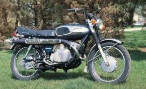 Twin rotary valves helped give the Bridgestone 350-cc twin prodigious power for its size. See more motorcycle pictures.