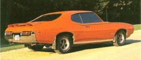 Pontiac's Judge appeared in 1969 as an option package with the 366-bhp V-8, a rear spoiler, and special graphics.