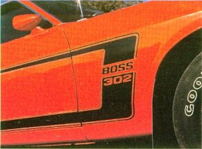 Bodyside striping on the 1969 Ford Mustang Boss 302 included a 'Boss 302' on the leading edge.