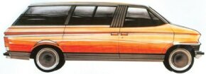 The sliding passenger-side door and slanted B-pillar are seen in this October 1972 sketch of the Ford Carousel minivan concept car.