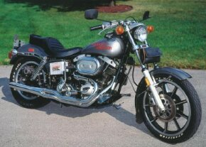 The 1978 Harley-Davidson FXS was initially sold only in metallic gray with orange script. See more motorcycle pictures.