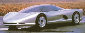 The 1986 Chevrolet Corvette Indy concept car recalled the real-world Corvette in the shape of the front end and the ZR-1 in terms of the engine.
