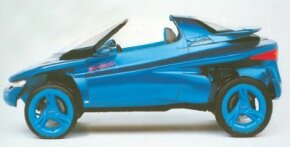 The 1988 Ford Splash concept car was an all-wheel-drive two-passenger roadster; a roof panel and windows could be fitted, however.