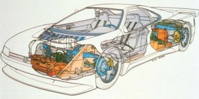 The twin-turbo V-6 of the 1988 Peugeot Oxia concept car was in the tail. This drawing also shows the car's four-wheel steering and all-wheel-drive systems.