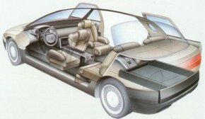 The 1988 Renault Megane concept car was equipped with two separate luggage compartments.