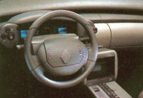 The array of futuristic instruments on the 1988 Renault Megane concept car included an Atlas screen which acted as a personal vehicle guide.