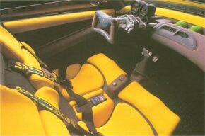 In keeping with the motorcycle motif, 1989 Plymouth Speedster concept car controls and instruments rode a movable rectangular fork.