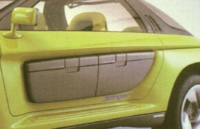 A cooler and case could slip neatly into the door openings of the 1989 Pontiac Stinger concept car.