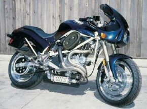 The 1994 Buell S2 Thunderbolt was powered by a modified version of the Harley-Davidson Sportster's 1203-cc V-twin.