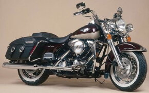 This 1998 Harley-Davidson FLHRCI Road King Classic shows off Harley's maroon and gold anniversary colors. See more motorcycle pictures.