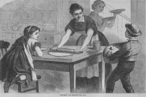 An 1882 illustration shows a family preparing for Thanksgiving. By now pumpkin pie is on the menu.