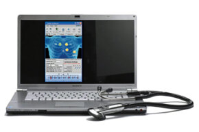 The Model 3200 Electronic Stethoscope has a computer interface that lets doctors log critical medical data.