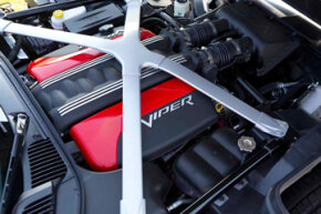 Under the hood of the 2013 SRT Viper is the all-aluminum, mid-front, 8.4-liter, V-10 engine that delivers 640-horsepower and 600 lb.-ft. of torque -- the most torque of any naturally aspirated sports car engine in the world.