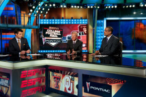 ESPN is all sports, all the time. Here, host Rece Davis talks college football with analysts Lou Holtz and Mark May in 2008.