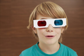 Using red and blue lenses in 3-D glasses might give the sensation of depth, but they also cause a degradation of color in the movie.