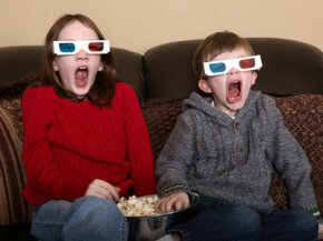 Kids wearing 3d anaglyph glasses