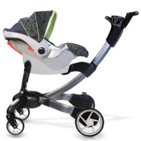 The Origami has an adapter that lets parents use an infant car seat -- but it only works with Graco Snugride infant seats.