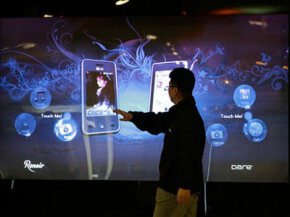 LG's booth featured an enormous touchscreen interface, among other technological goodies.