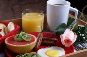 Breakfast in bed is a kind treat for someone special.