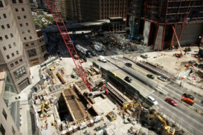 Construction continues at Ground Zero, the site of the former World Trade Center in New York City, in May 2011.