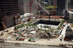 Construction continues at Ground Zero, where the World Trade Center once stood, in May 2011.