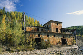 Some abandoned mines, like this former gold mine, built in 1934 in Alaska, are left with buildings intact. See more Alaska pictures.