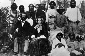 settlers surrounded by Aborigines