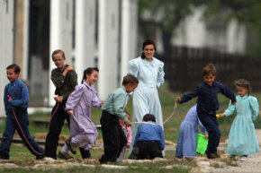 Most people associate Mormon Fundamentalism with pictures like this -- FLDS women and children removed from the Yearning for Zion compound in 2008.