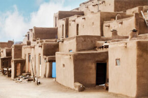 These adobe homes in Taos, N.M. were built with building techniques that trace back nearly 3,000 years.