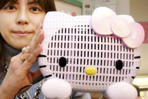 Japan's Sanrio displays the company's air purifier shaped as character Hello Kitty.