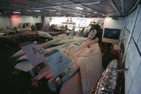 The hangar deck on the USS Dwight D. Eisenhower