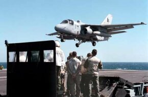An ES-3A Shadow comes in for a landing aboard the USS George Washington.