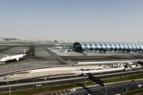 """Check out that sleek looking terminal at Dubai International Airport. It's the A380 Hub. According to the airport, it's """"a purpose-built facility for the world's largest fleet of A380s."""""""