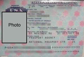 The photo-identification page of a U.S. passport