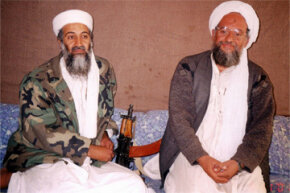 The past and present leaders of al-Qaida, as of December 2012. Osama bin Laden (L) sits with his then adviser Ayman al-Zawahri (and now leader) of al-Qaida post-bin Laden.