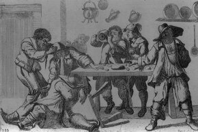 People in the 1600s could sure put away the booze. Here, one man holds his friend's head while he vomits on another drunken companion.