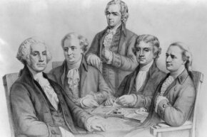 President George Washington with his cabinet members (from left), Secretary of War Gen. Henry Knox, Secretary of the Treasury Alexander Hamilton, Secretary of State Thomas Jefferson and Attorney General Edmund Randolph.