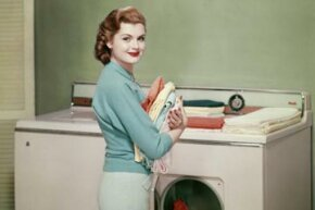 This set from 1955 might be connected, but it's about twice the size of a current washer dryer combo.