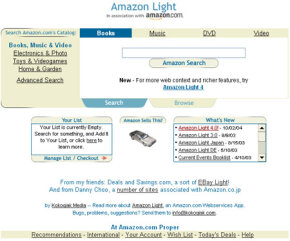 Alan Taylor does not work for Amazon.com. He joined the Associate Program, signed up for Amazon Web Services, downloaded the API and built Amazon Light.