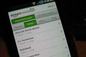 The Amazon MP3 Player is available for mobile devices like this one running Android.