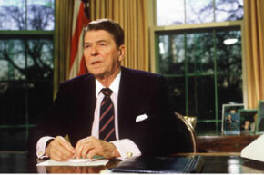 President Ronald Reagan addresses the nation from the White House Oval Office.