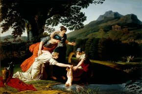 Thetis (Achilles' mother) dipped Achilles into the river Styx to make him immortal. Unfortunately, she missed one heel.