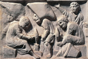 Stonecutters at work in ancient Rome.
