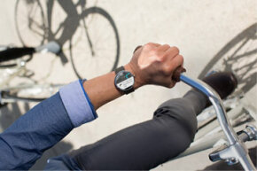 This shot of the Moto 360 smart watch, which will run Android Wear, is slated to be available in summer 2014 in the United States.