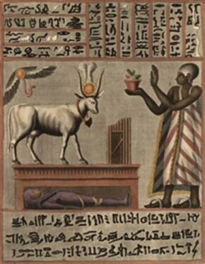 Hieroglyphics and images of ritualistic animals adorn an Egyptian manuscript found with the swathing of a mummy.