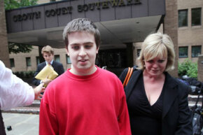 Ryan Cleary and his solicitor Karen Todner outside Southwark Crown Court by on June 27, 2011 in London, England. At that time, Mr. Cleary was charged with hacking into the U.K.'s Serious Organised Crime Agency.