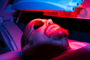 Doctors use PDT to activate oxygen molecules in aging skin, which, according to one study, helps skin rejuvenate itself.