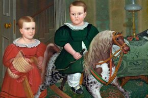 "This 1840 painting titled ""The Hobby Horse"" by Deacon Robert Peckham shows a young boy enjoying a rocking horse."
