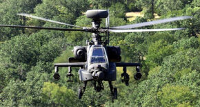 The Apache Longbow has a distinctive radar dome mounted to its mast.